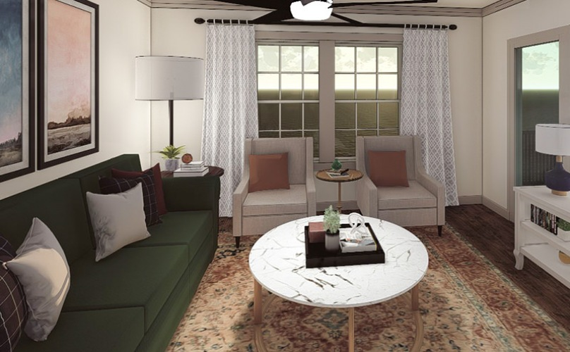 Spacious Living Area with Large Windows