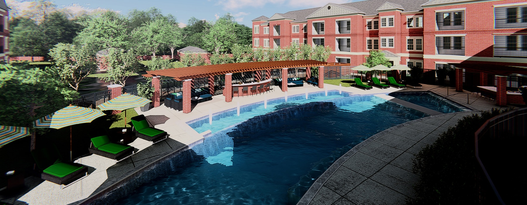 Pool features a large shaded area for grilling and dining