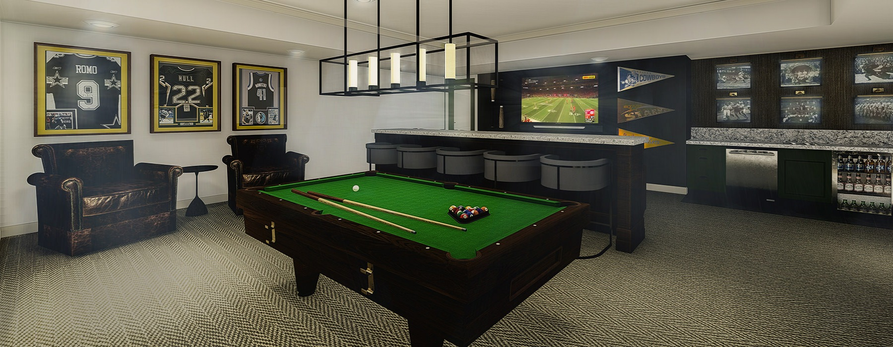 Resident lounge with billiards area and large TVs