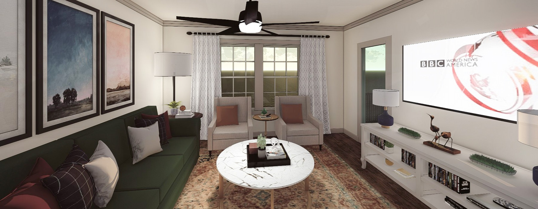 Spacious Living Area with large windows and ceiling fan